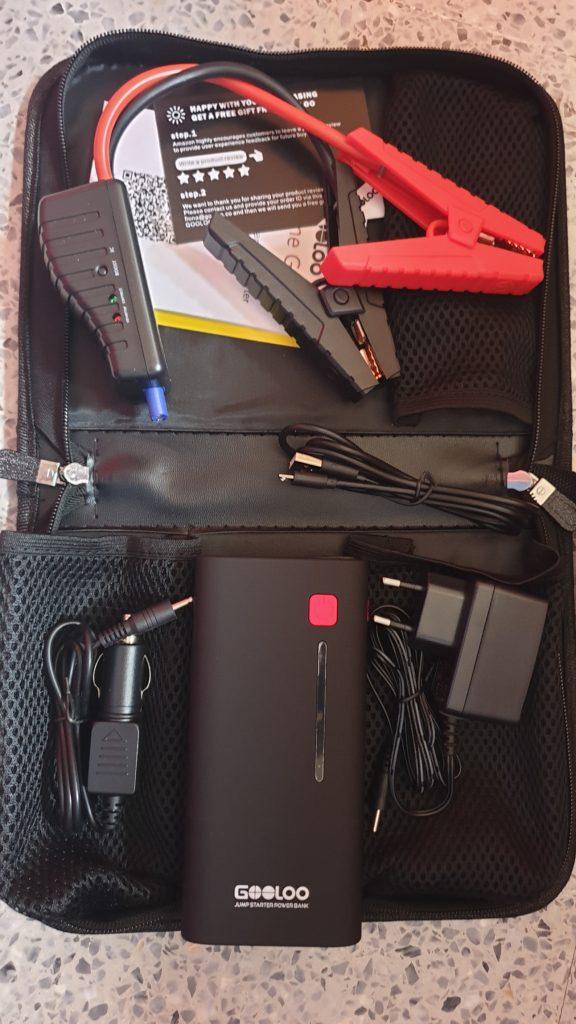 Contenido del interior del paquete, el arrancador con sus accesorios